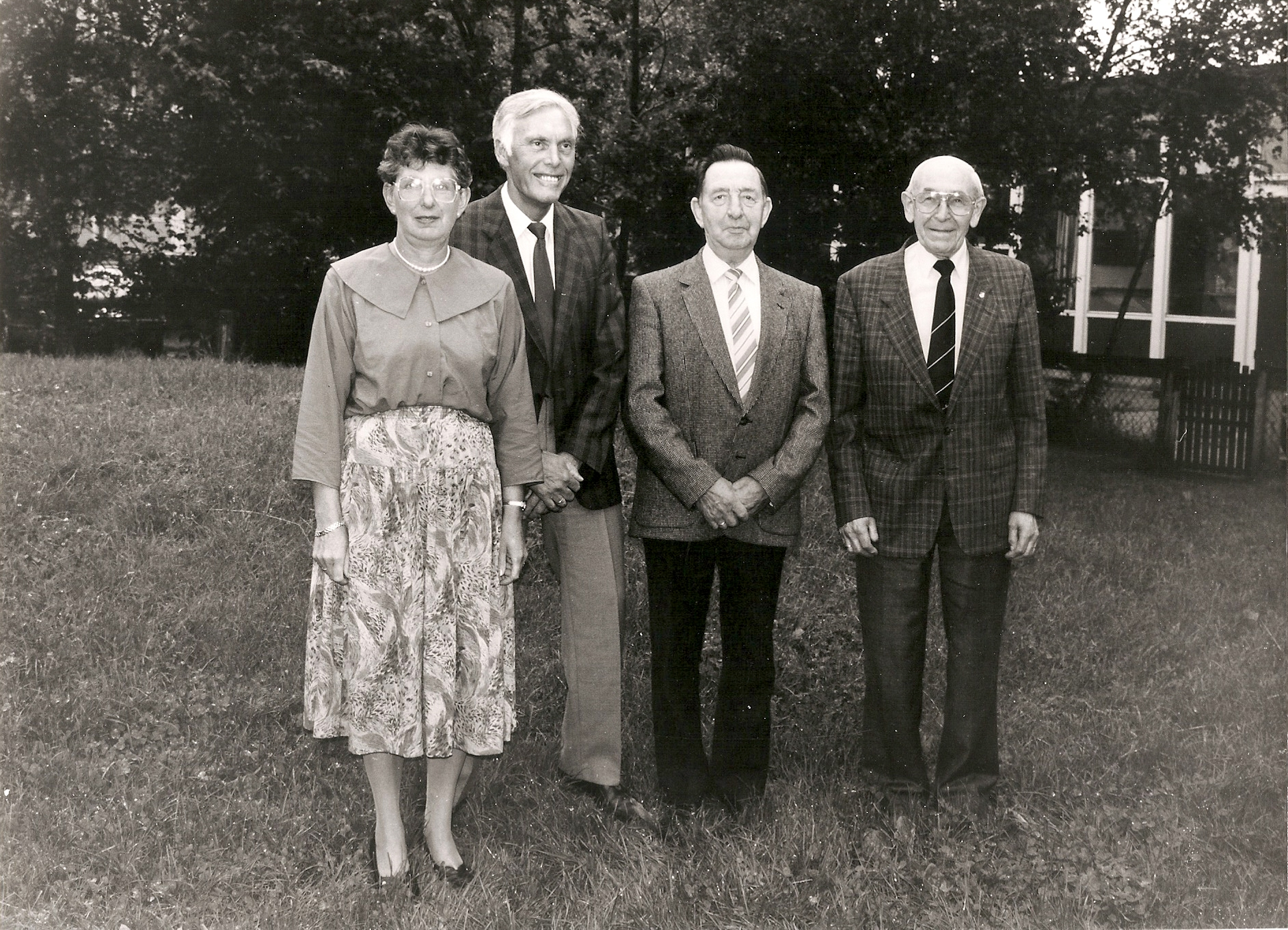1991 leden van het eerste uur SOVV, vlnr Jo Dekker, Nardus Dekker, Hendrik Rouwenhorst, Jan Dekker